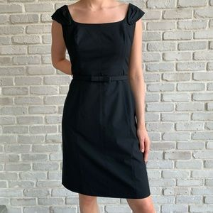 Tahari Black Career Dress Wide Neck Lined 10 P